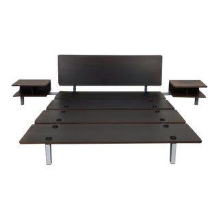 Minimalistic Cassina Wood Xen Platform Queen Bed With Side Tables