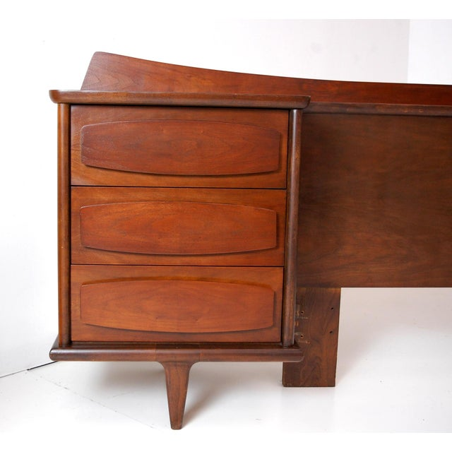 Mid-Century Modern Teak Headboard With Nightstands For Sale In Raleigh - Image 6 of 10