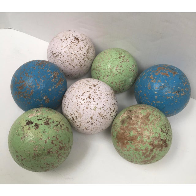 Italian 1950s Italian Painted Wooden Bocce Balls - Set of 7 For Sale - Image 3 of 8