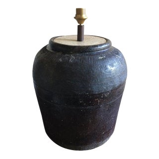 French Dark Brown Jar or Container Adapted as a Lamp, 19th Century For Sale