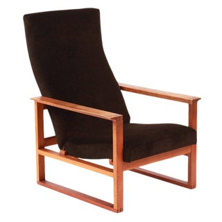 1950s Mid-Century Modern Børge Mogensen Adjustable Oak and Mohair Lounge Chair For Sale