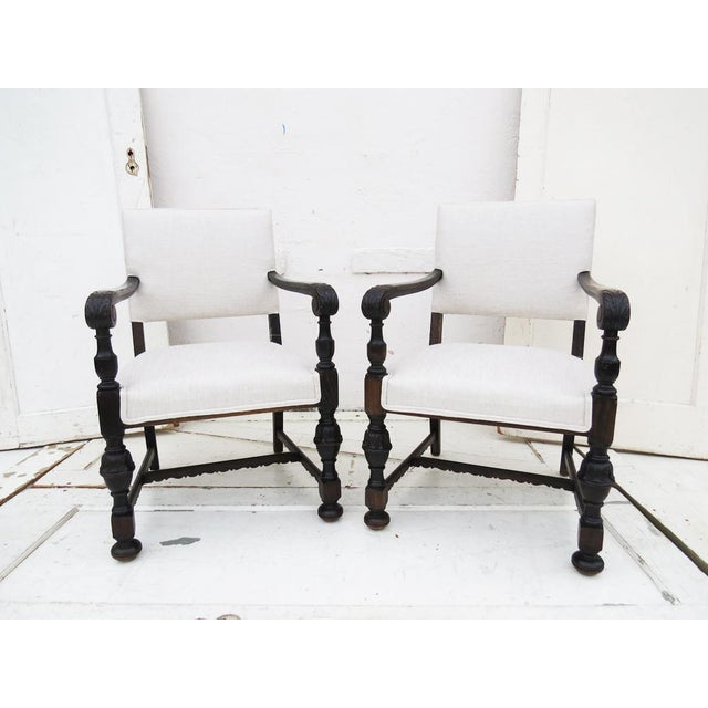 1930's Carved Wood Chairs - A Pair - Image 3 of 4