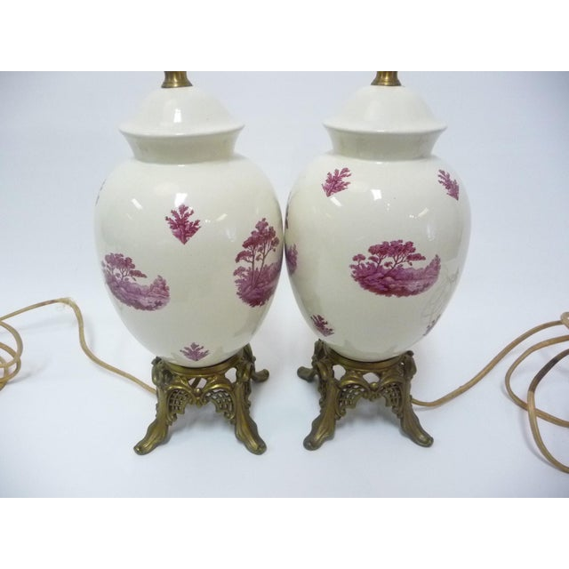 Semi-Porcelain Victorian-Style Table Lamps - A Pair - Image 3 of 7