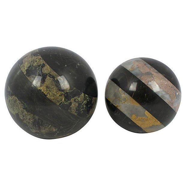 Marble Spheres - a Pair - Image 2 of 2