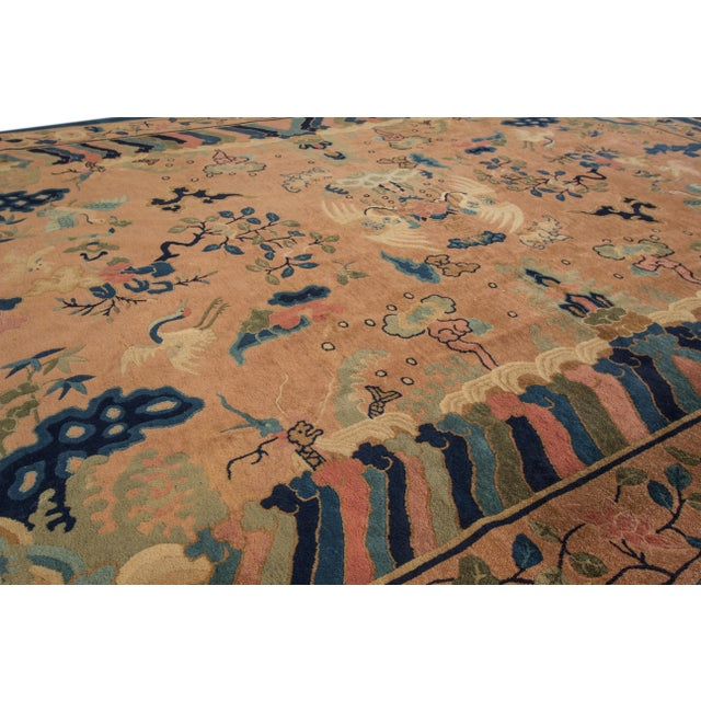 Antique Peach Peking Chinese Room Size Wool Rug 9 Ft X 11 Ft 9 In. For Sale In New York - Image 6 of 11