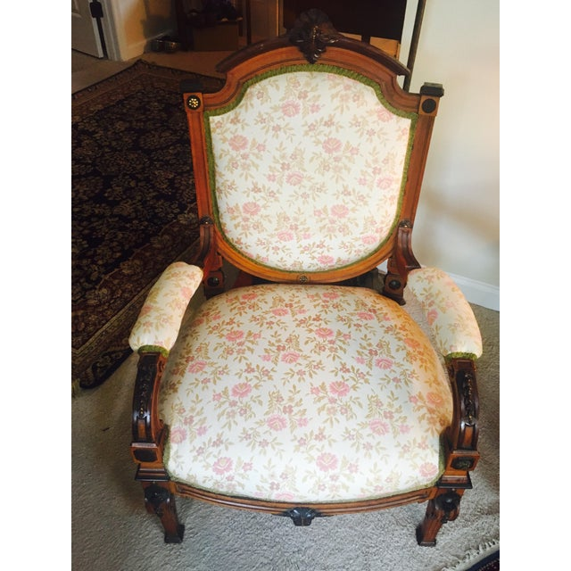 Antique Reupholstered French Armchair - Image 2 of 8