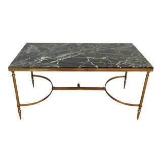 Brass Coffee Table with Green Marble by Maison Janson