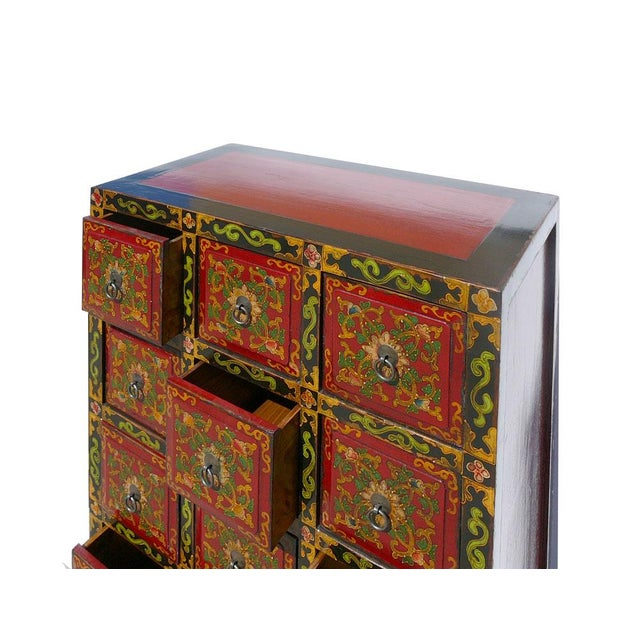 Oriental Tibetan Flower Graphic 11 Drawers Cabinet - Image 5 of 5