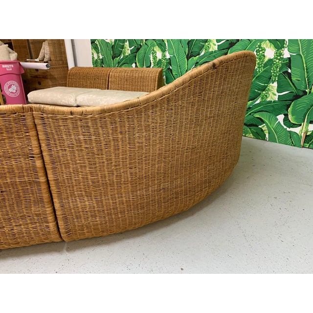Boho Chic Large Sculptural Wicker Sectional Sofa For Sale - Image 3 of 13