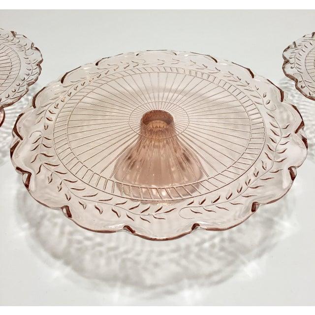 Pink Depression Glass Pedestal Cake Plates - Set of 3 - Image 4 of 8