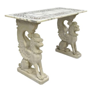 Early 20th Century Italian Neoclassical Style Marble Top Console For Sale