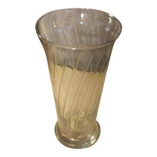 Vintage Blown Glass Trumpet Vase With Swirls