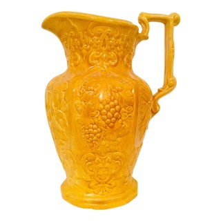 Large Glazed Ceramic Pitcher With Gothic Renaissance Inspired Design For Sale