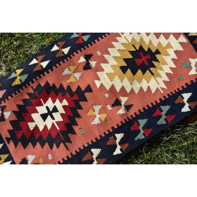Rustic Vintage Hand Knotted Traditional Southwestern Style Anatolian Kilim Rug For Sale - Image 3 of 13