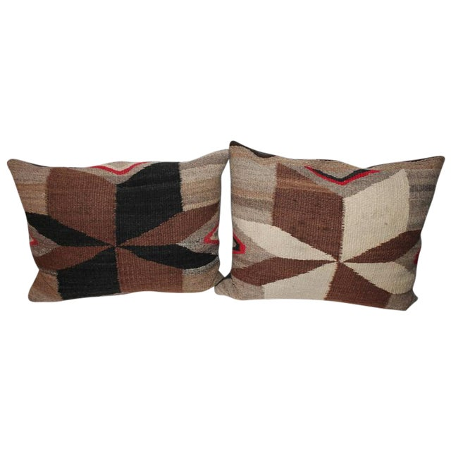 Pair of Navajo Indian Weaving Star Pillows For Sale