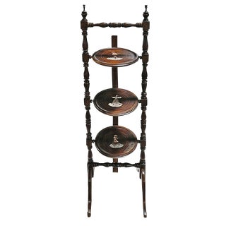 Early 20th Century Traditional Brown Wooden Three Tiered Inlaid Etagere For Sale