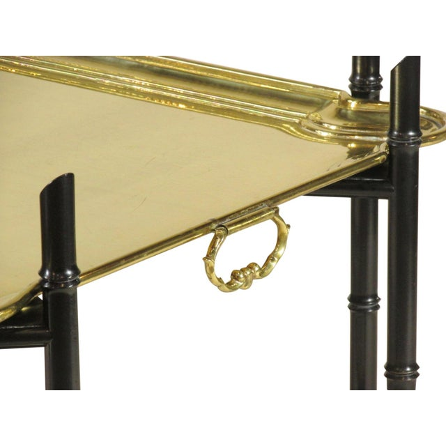 1960s Regency Style Brass Tea Table For Sale - Image 9 of 11