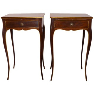 Mahogany Gilded Molding, Drawer and Pull-Out Table Side Tables - a Pair