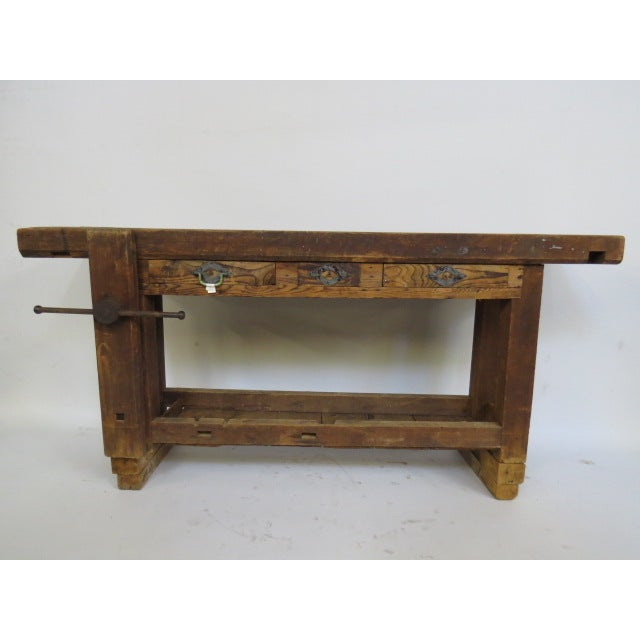 Antique 1900s Industrial Work Table - Image 2 of 6