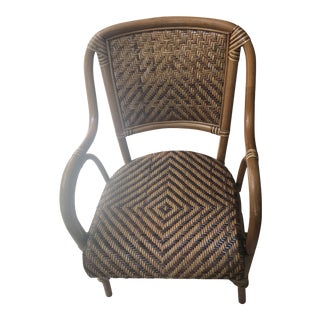Late 20th Century Vintage Woven French Bistro Style Rattan Dining Chair For Sale
