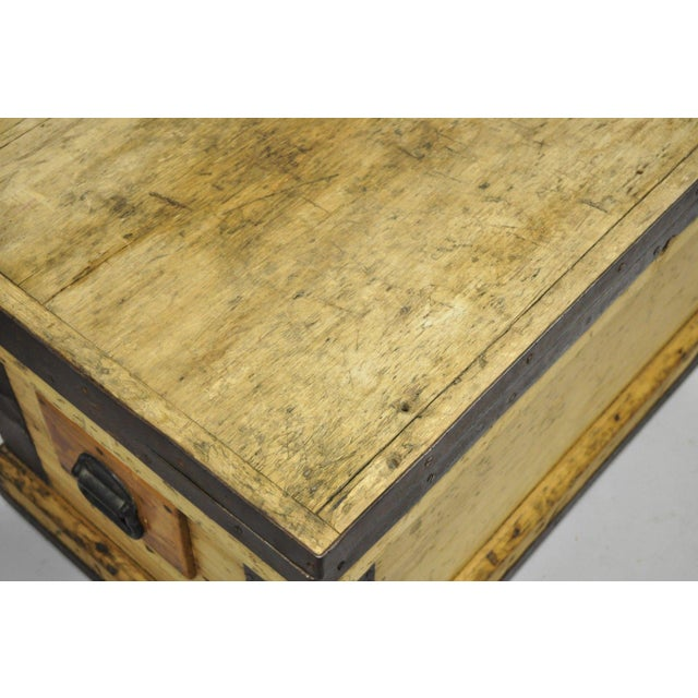 Antique Wood & Cast Iron Primitive Industrial Trunk Blanket Chest or Coffee Table For Sale - Image 12 of 13
