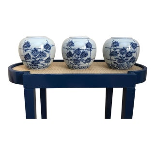1970s Vintage Blue and White Vases - Set of 3 For Sale