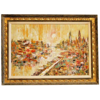 Mid-Century Modern Oil on Canvas Cityscape by M. Dick For Sale