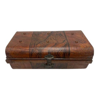 19th Century French Tole Faux Bois Metal Box For Sale