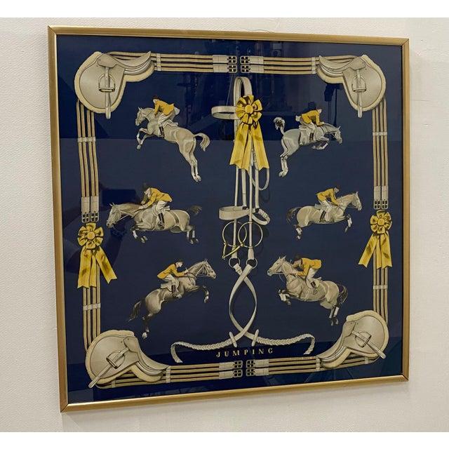 Navy Blue Framed Vintage Hermes Scarf in Navy Blue and Gold For Sale - Image 8 of 9