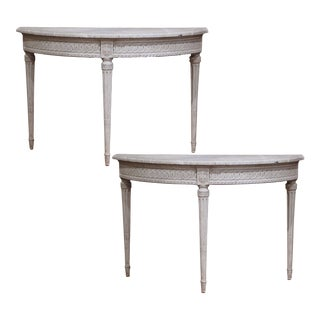 Pair of 19th Century Louis XVI Carved Painted Demi-Lune Console Tables For Sale