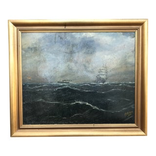 Vintage Seascape Clipper Ship Sailboat Ocean Painting Signed 1916 For Sale
