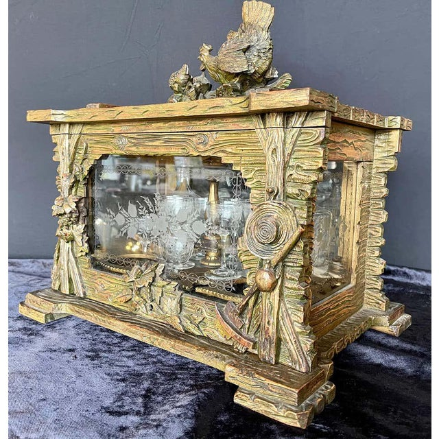 Rustic 19th Century Black Forest Tantalus Bar For Sale - Image 3 of 13
