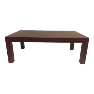 Modern Burnt Red Raffia Coffee Table For Sale