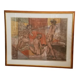 Late 20th Century Signed Limited Edition Nude Females Lithograph For Sale