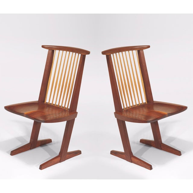 Vintage George Nakashima, Rare Sculptural Conoid Chairs- A Pair For Sale - Image 11 of 11