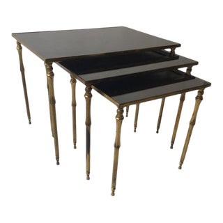 1950s French Brass/Glass Nesting Tables For Sale