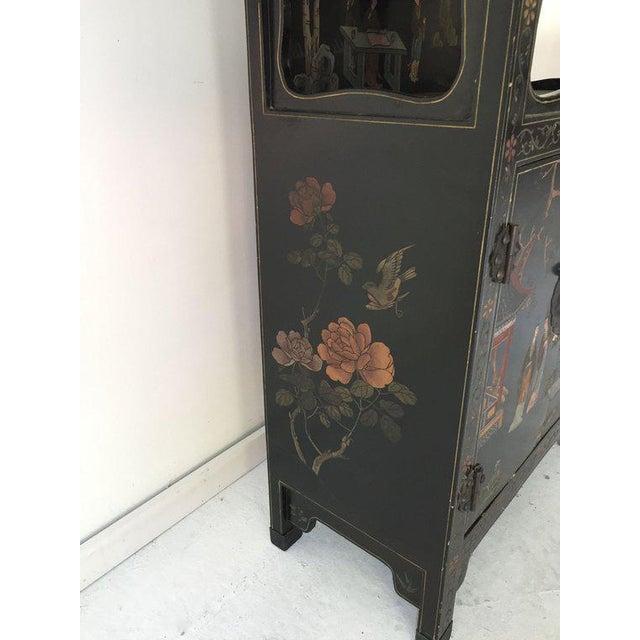 Asian Vintage Asian Style Black Cabinet/Bar/Server For Sale - Image 3 of 7