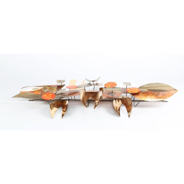 1970s BRUTALIST 1970S WALL SCULPTURE IN ENAMEL AND BRASS For Sale - Image 5 of 8