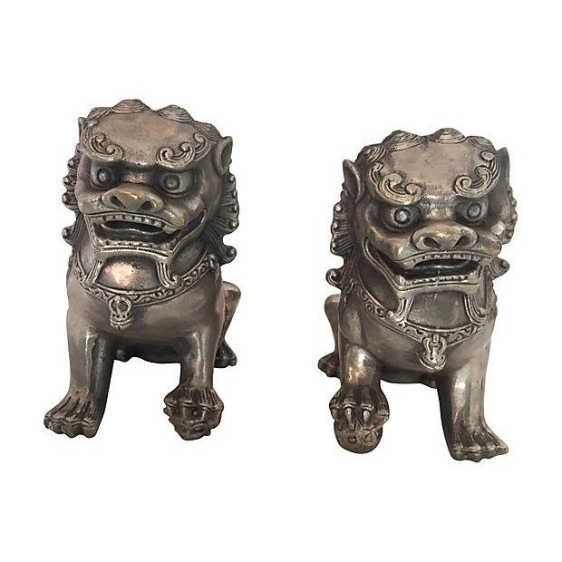 Silver Foo Dog Statues - Pair - Image 5 of 6