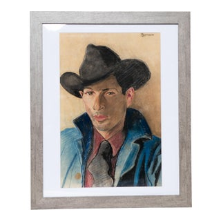 Professionally Framed Pastel Drawing of Cowboy