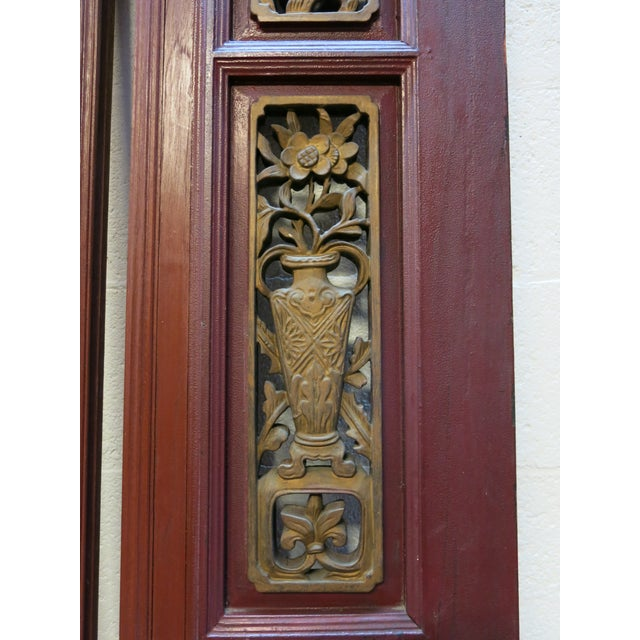 Antique Chinese Hand Carved Wooden Doors - a Pair - Image 6 of 11