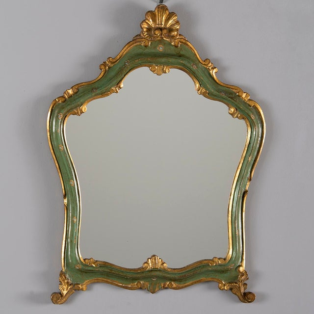 Small French Green and Gilded Crown Top Mirror For Sale - Image 10 of 10