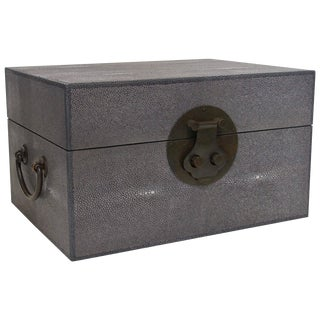 Gray Shagreen Wood Box (2 Available) For Sale