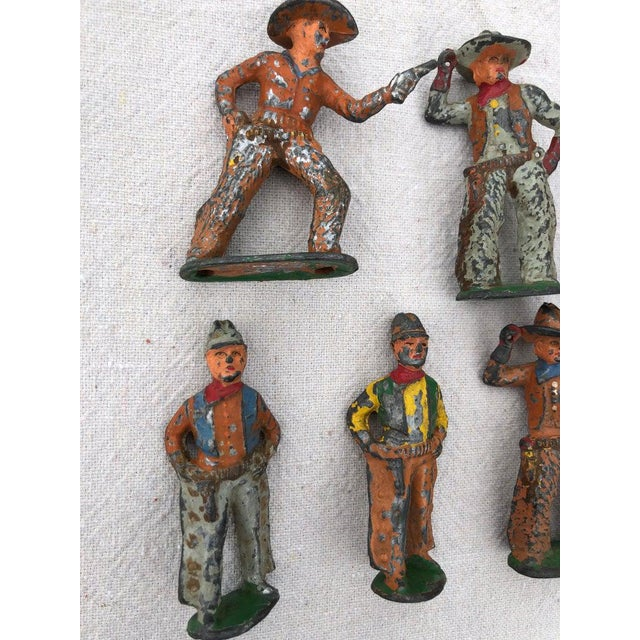 1940s 1950 Antique Lead Toy Cowboys - Set of 7 For Sale - Image 5 of 9