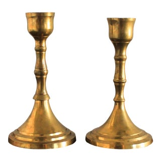 Brass Candle Holders W/ Faux Bamboo Motif For Sale