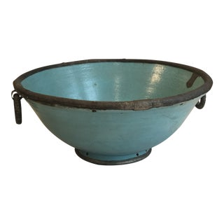 Moroccan Turquoise Bowl With Metal Trim For Sale