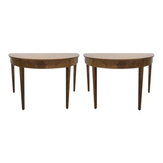 Pair Hepplewhite Style Inlaid Demi Lune Console Tables For Sale