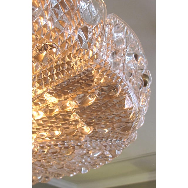 Metal Crystal Eight Light Chandelier by Carl Fagerlund for Orrefors Glassworks, Sweden 1960's For Sale - Image 7 of 10