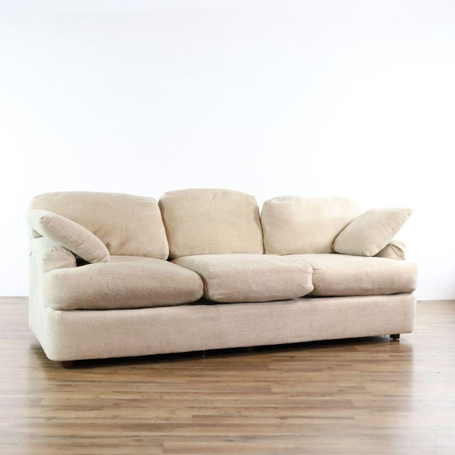 Contemporary Ivory Chenille Hendredon ( Expensive Brand ) Sofa With Rounded Transitional Arms And Down Pillows. Brand is...