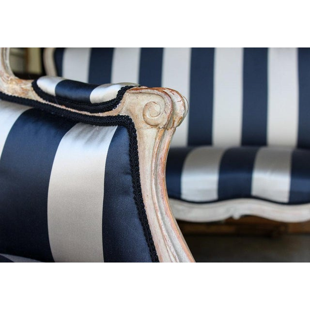 Vintage Louis Reupholstered Settee For Sale - Image 4 of 7